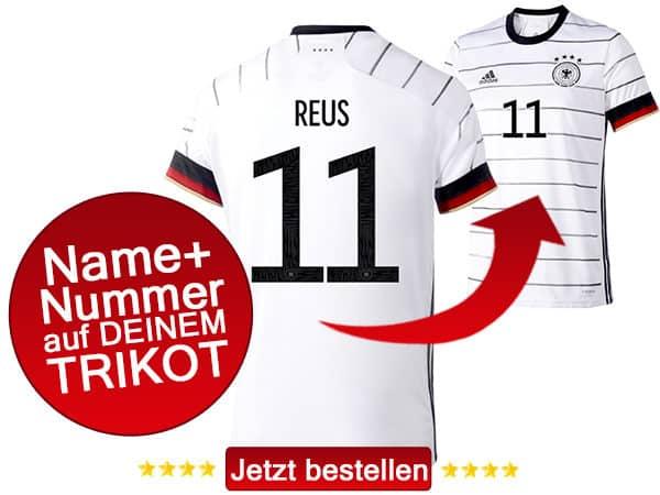 Das neue DFB Trikot 2020 mit Rückennummer und Name bestellen.