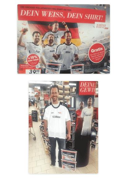 """Zur EM 2016: Beim Gang im hiesigen Bauhaus ist mir folgende Werbeaktion von """"Polarweiss"""" aufgefallen. Man kauft 2 Produkte und bekommt FAN-T-Shirts geschenkt. Eine tolle Aktion: jeder weiß, dass es um Fußball geht, doch genannt wird die EM 2016 nirgends. Die Fußballfans und die Deutschland-Fahnen sorgen für Aufmerksamkeit, ebenso der lebensechte Pappaufsteller."""