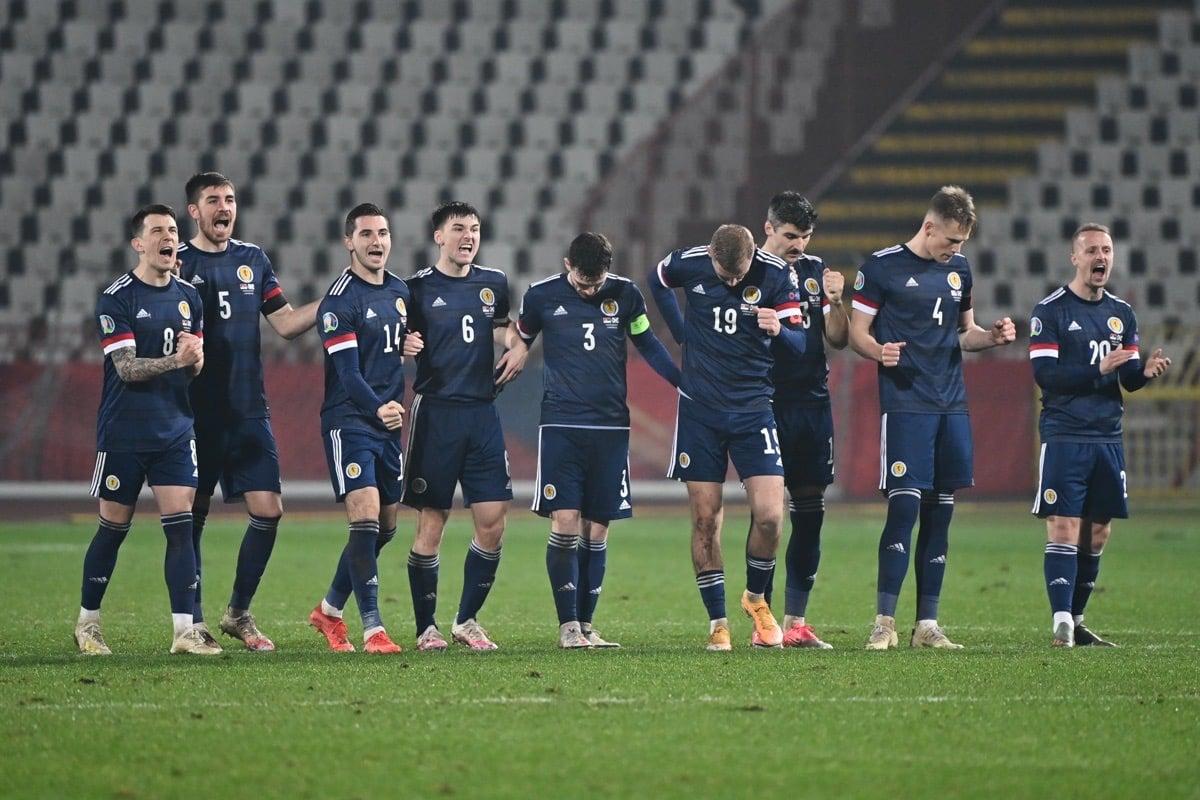 Schottlands Nationalspieler beim Elfmeterschießen im Euro 2020 play-off gegen Serbien am 12. November 2020. ANDREJ ISAKOVIC / AFP